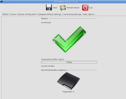 PS3 Media Server forbundet til PS3