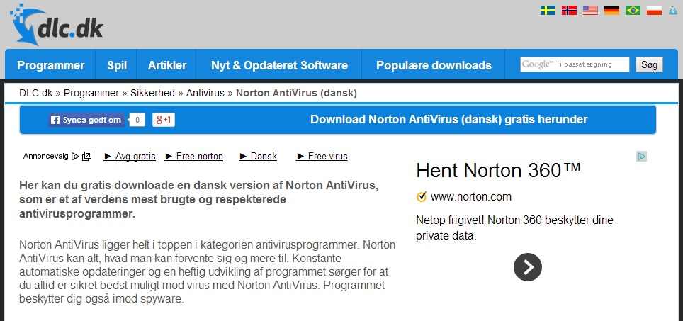 På den deltaljede side for Norton Antivirus på dansk
