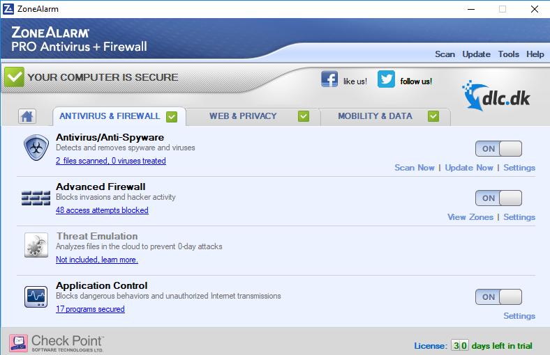 Screenshot af ZoneAlarm Pro