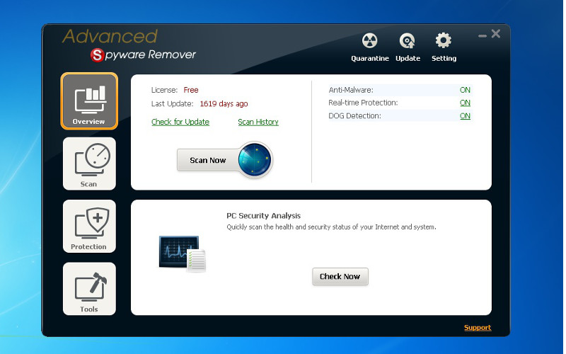 Screenshot af Advanced Spyware Remover Free