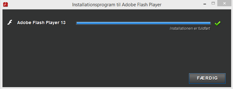 Screenshot af Adobe Flash Player (Dansk)