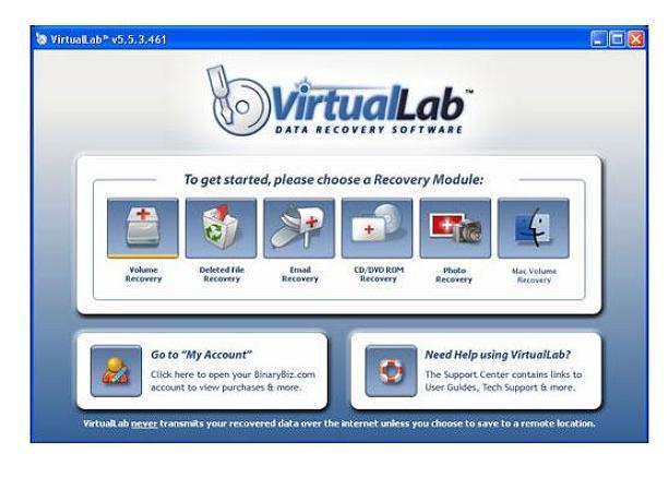 Screenshot af VirtualLab Data Recovery