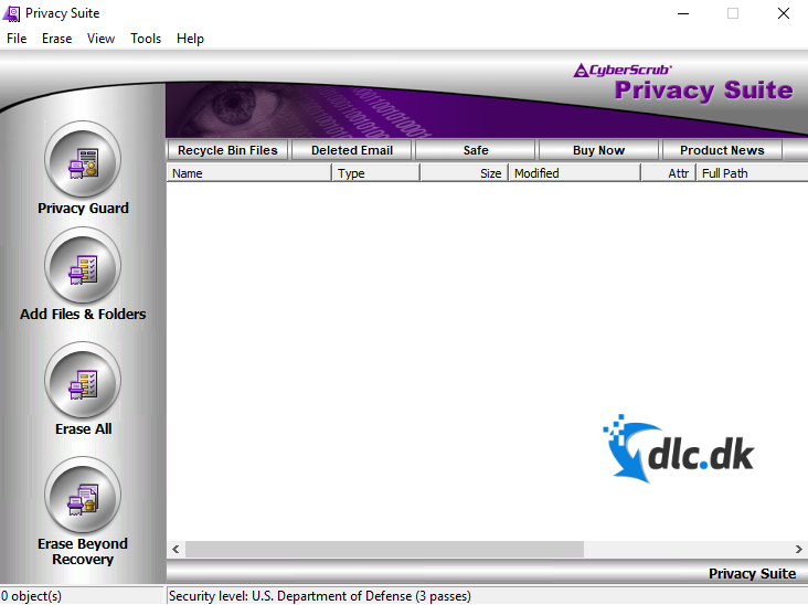 Screenshot af CyberScrub Privacy Suite