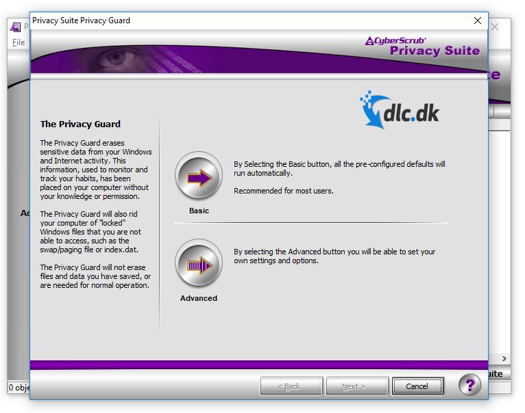 Screenshot af CyberScrub Privacy Suite