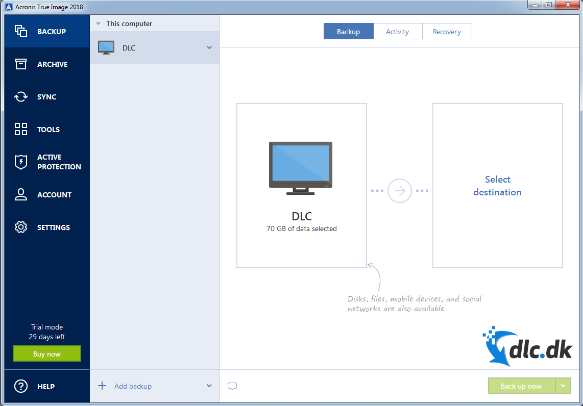 Screenshot af Acronis True Image