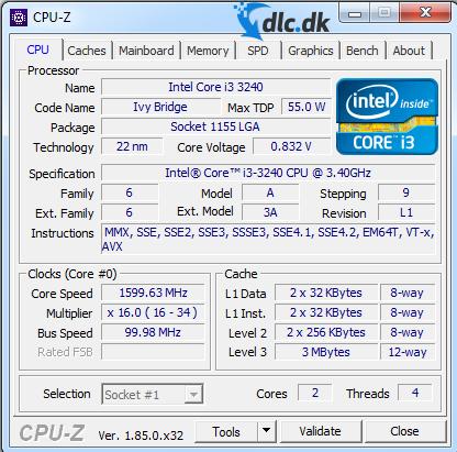 Screenshot af CPU-Z