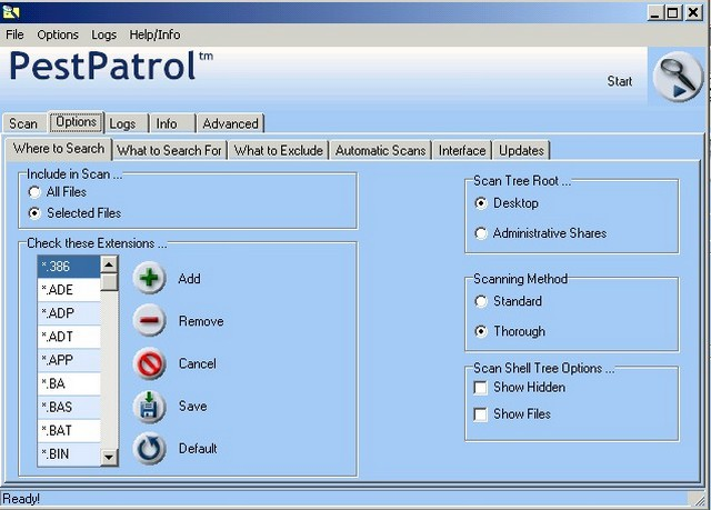 Screenshot af eTrust PestPatrol Anti-Spyware
