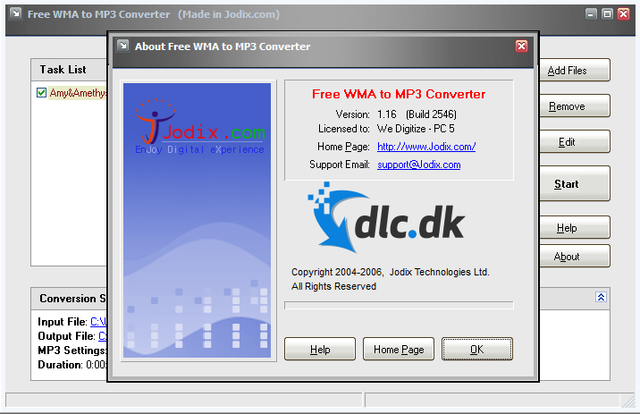 Screenshot af Free WMA to MP3 Converter