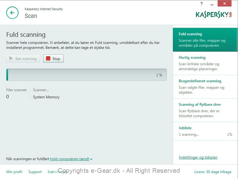 Screenshot af Kaspersky Internet Security (dansk)