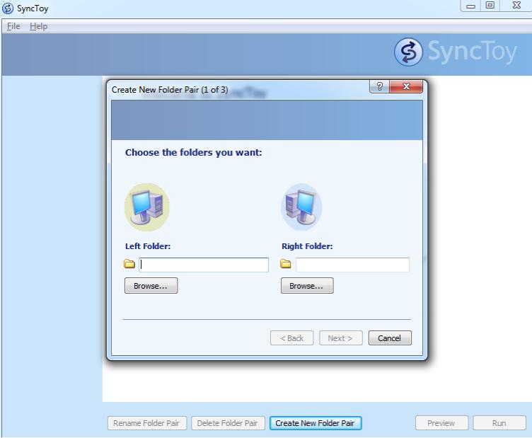 Screenshot af SyncToy