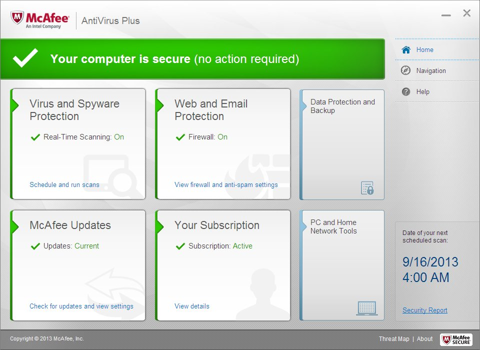 Screenshot af McAfee AntiVirus Plus