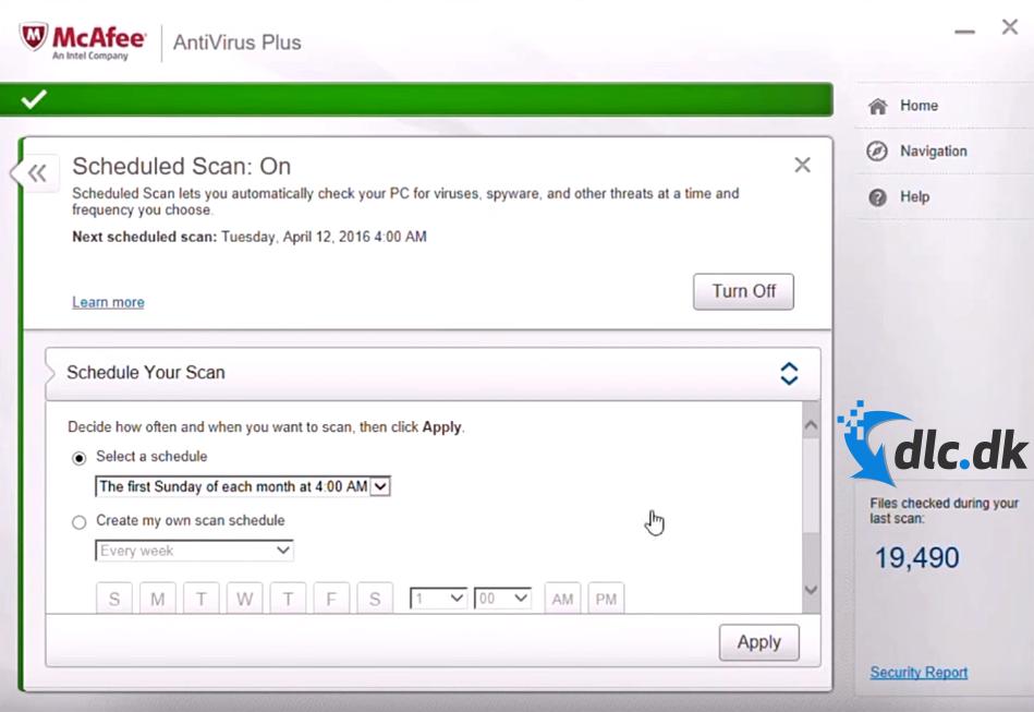 Screenshot af McAfee AntiVirus Plus