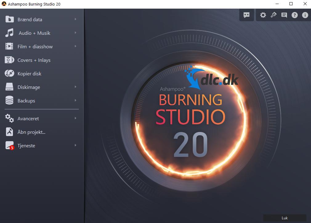 Screenshot af Ashampoo Burning Studio (Dansk)