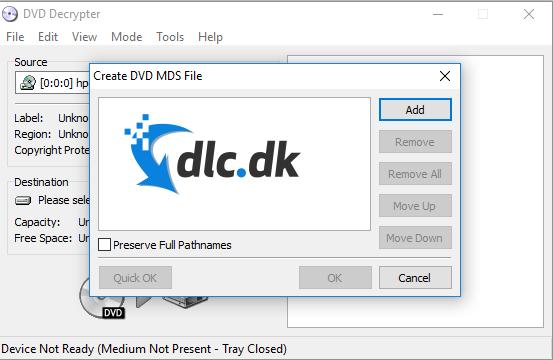Screenshot af DVD Decrypter