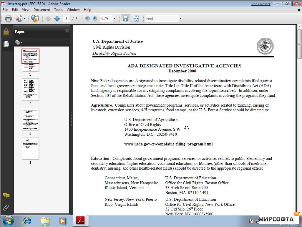 Screenshot af Adobe Reader