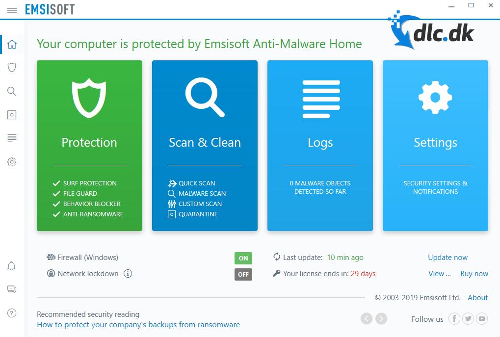 Screenshot af Emsisoft Anti-Malware