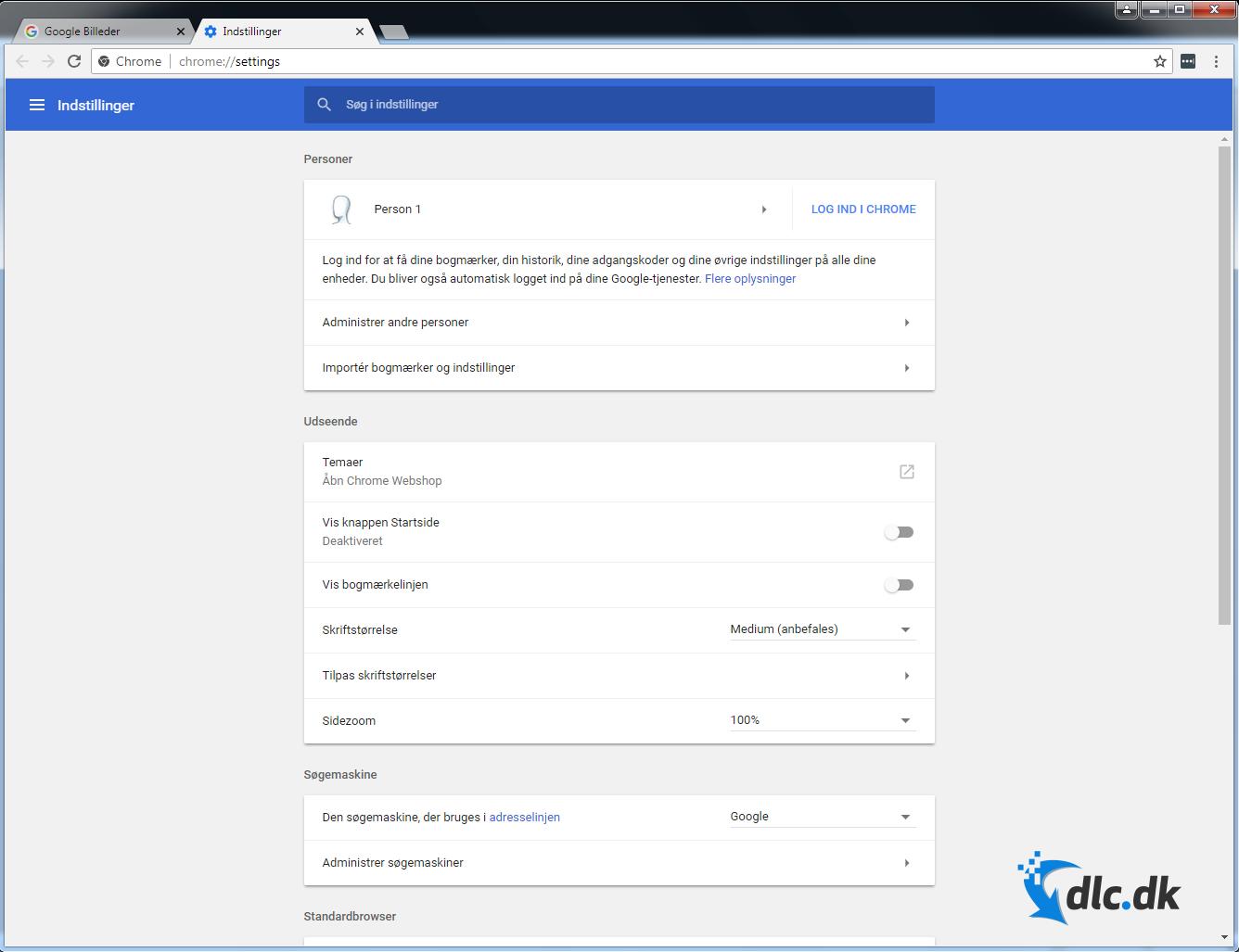 Screenshot af Google Chrome (Dansk)