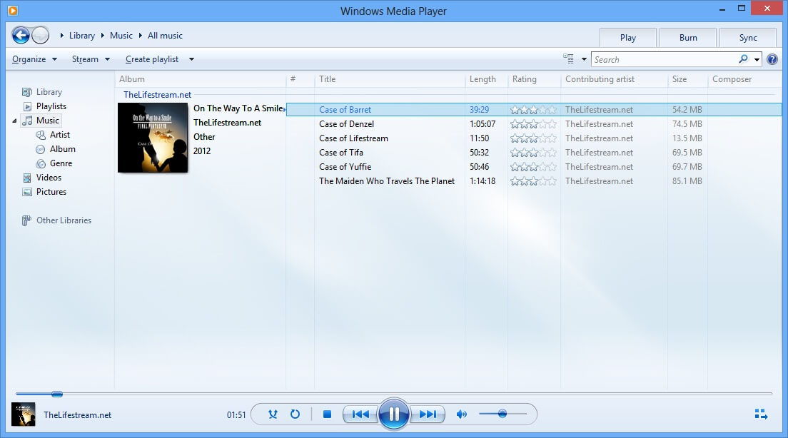 Screenshot af Windows Media Player