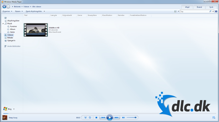 Screenshot af Windows Media Player