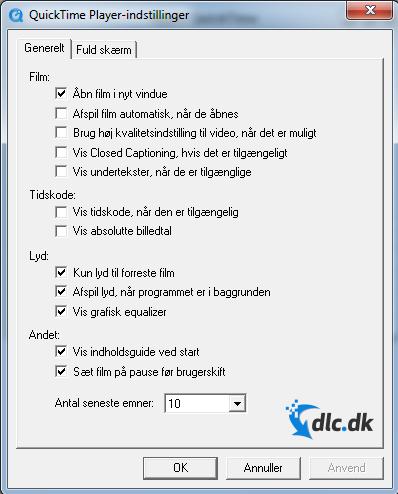 Screenshot af QuickTime Player