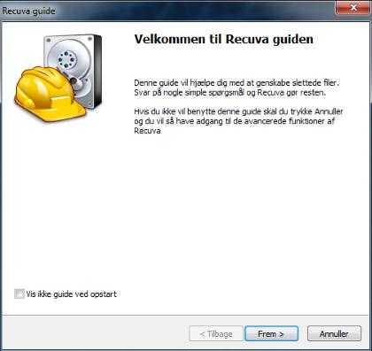 Screenshot af Recuva (Dansk)