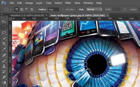 Screenshot af Adobe Photoshop
