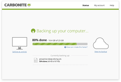 Screenshot af Carbonite Online Backup
