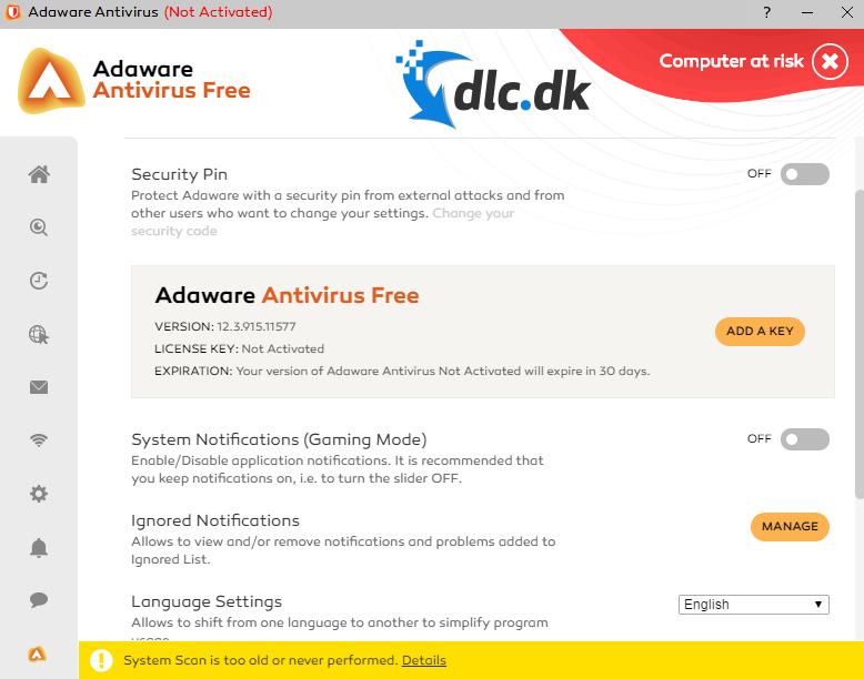Screenshot af Adaware Antivirus Free