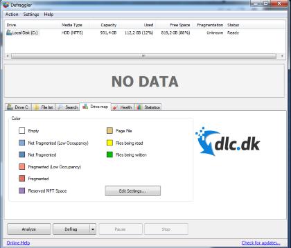 Screenshot af Defraggler