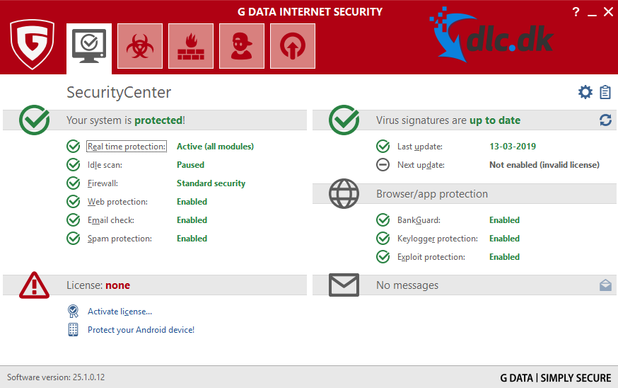 Screenshot af G DATA Internet Security