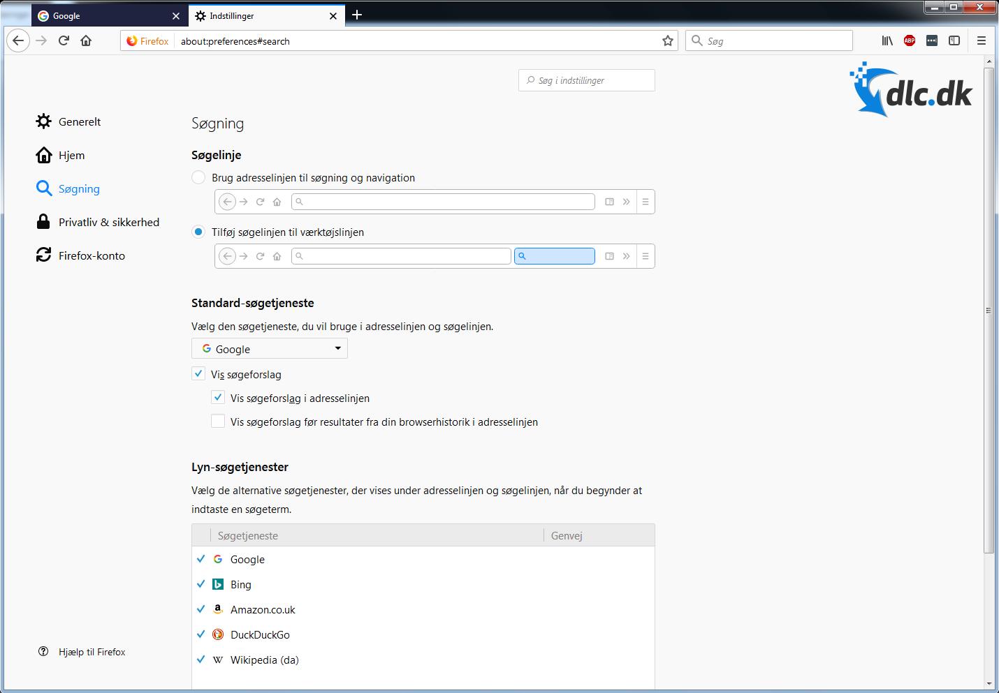 Screenshot af Firefox (Dansk)