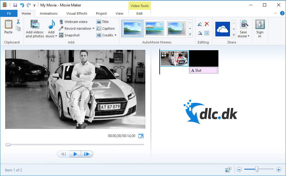 Screenshot af Windows Movie Maker