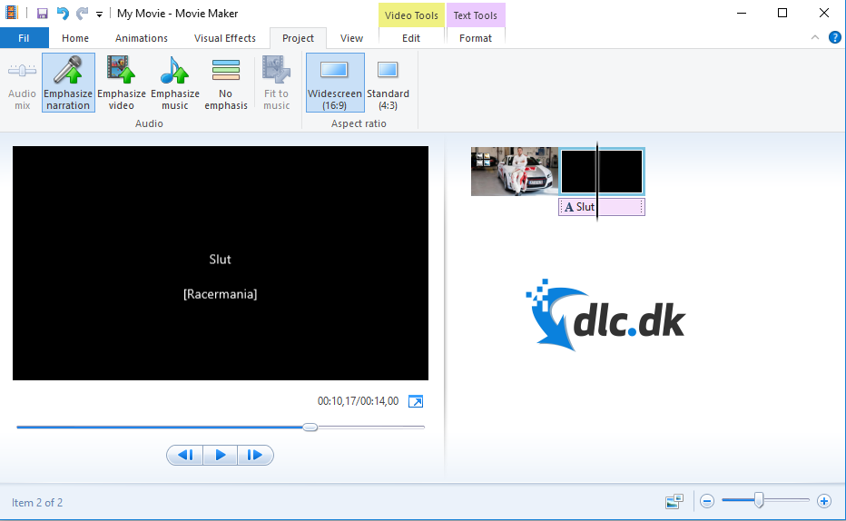 Screenshot af Windows Movie Maker