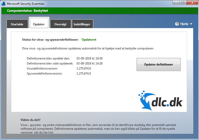Screenshot af Microsoft Security Essentials