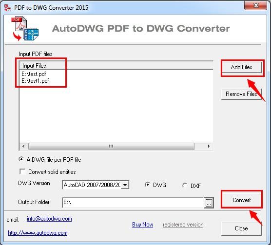 Screenshot af PDF to DWG Stand-Alone version