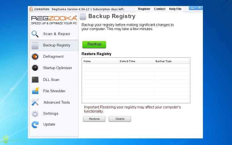 Screenshot af RegZooka