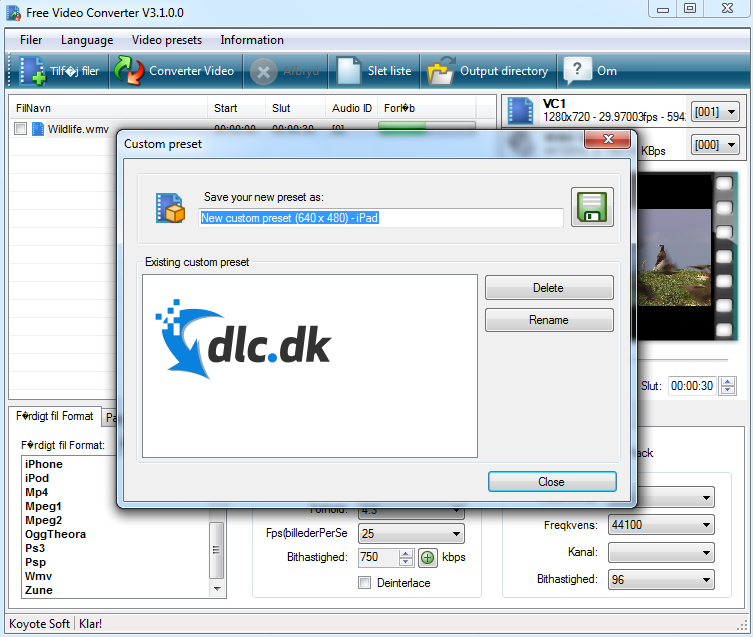 Screenshot af Free Video Converter
