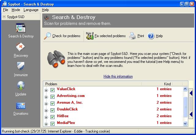 Screenshot af Spybot Search and Destroy Free