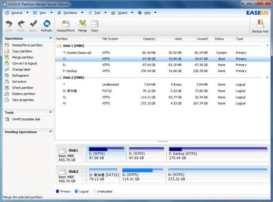 Screenshot af EASEUS Partition Master Home Edition