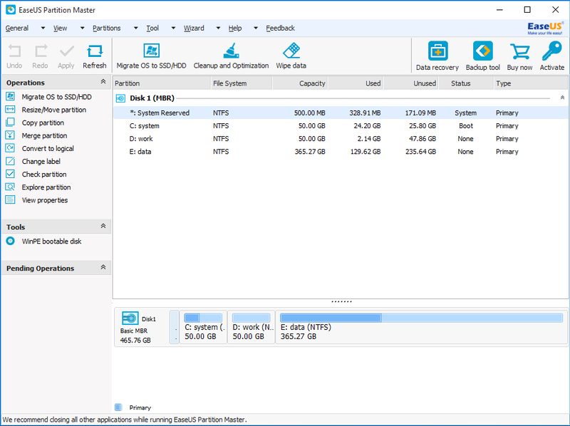 Screenshot af EASEUS Partition Master Home Edition
