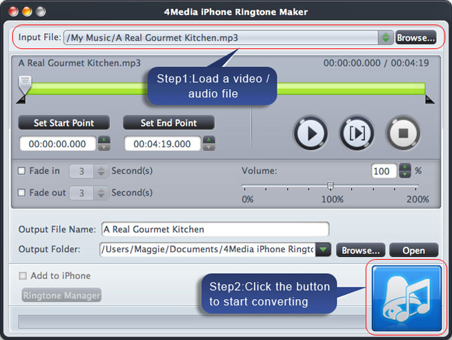 Screenshot af 4Media iPhone Ringtone Maker