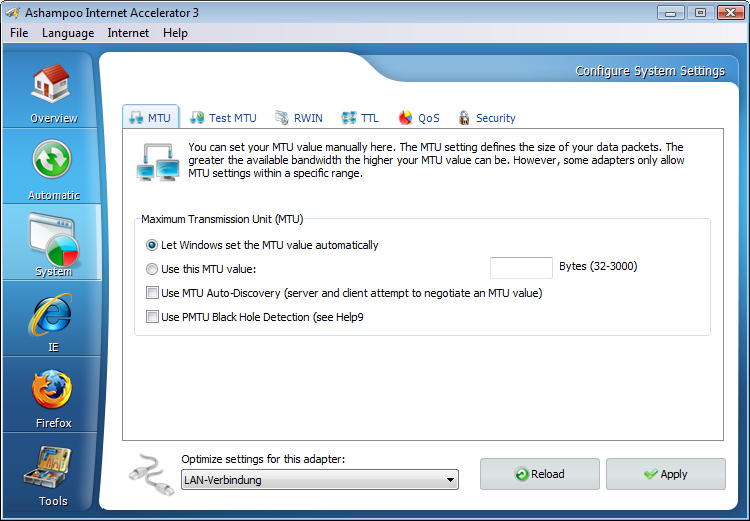 Screenshot af Ashampoo Internet Accelerator