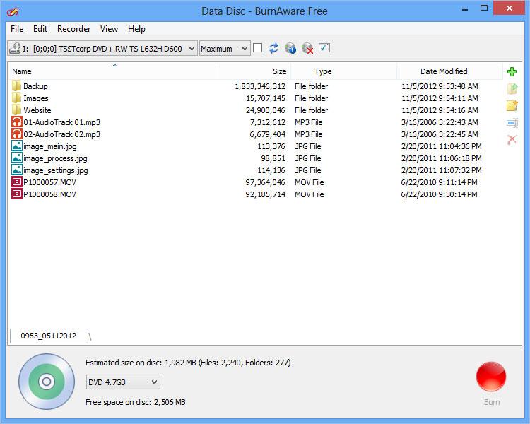 Screenshot af BurnAware Free