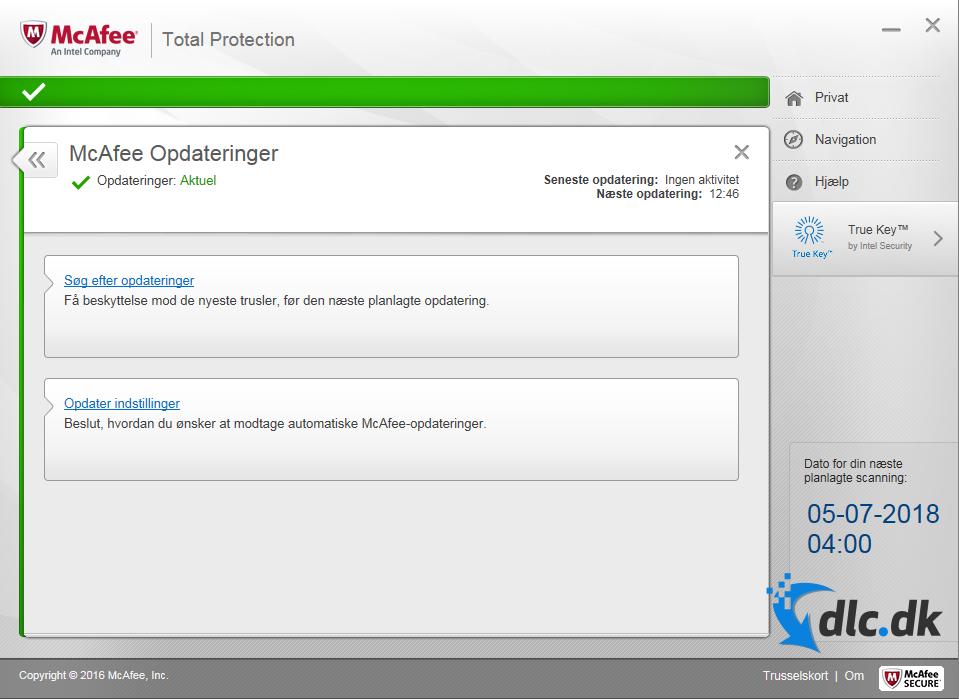 Screenshot af McAfee Total Protection (Dansk)
