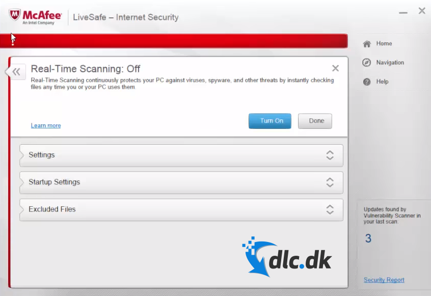 Screenshot af McAfee Internet Security