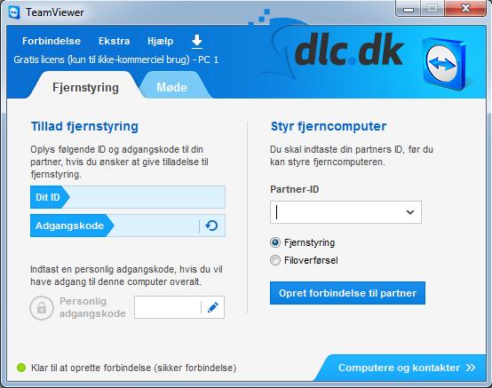 Screenshot af TeamViewer (dansk)