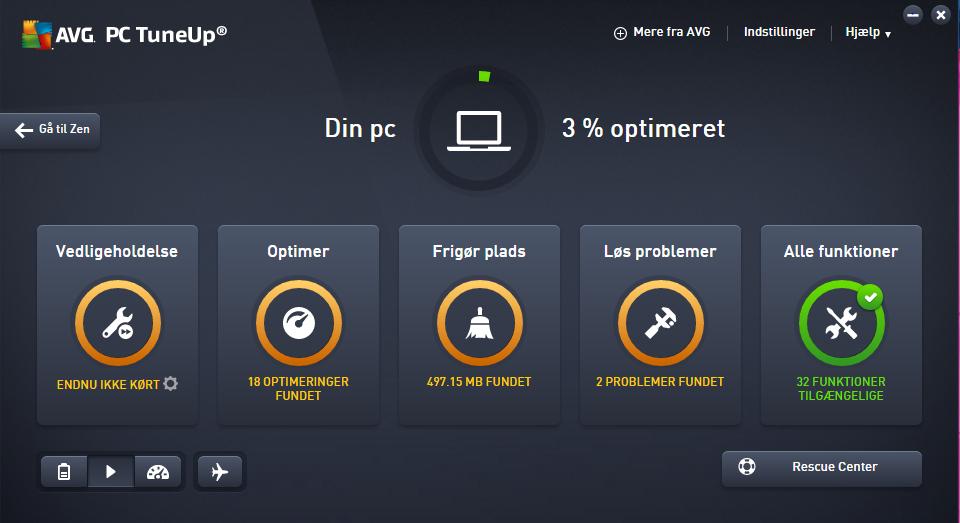 Screenshot af AVG PC Tuneup (dansk)