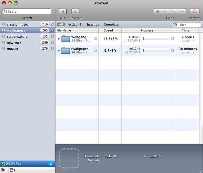 Screenshot af xTorrent til Mac