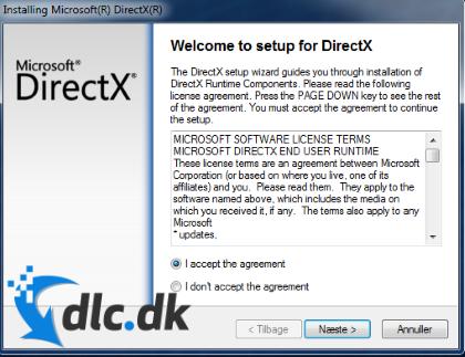 Screenshot af DirectX (Dansk)