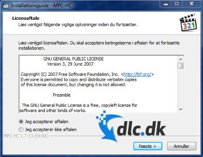 Screenshot af Media Player Classic Home Cinema (Dansk)